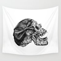 bow Wall Tapestries featuring Bow Skull by ChelseaEGeorge