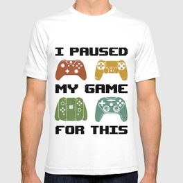 Paused My Game Vintage Retro Gamers 80s Gaming Controllers Gift T-shirt