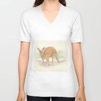kangaroo V-neck T-shirts featuring Kangaroo. by Mariel Castro
