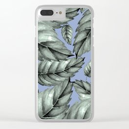 GREEN LEAVES ON BLUE Clear iPhone Case