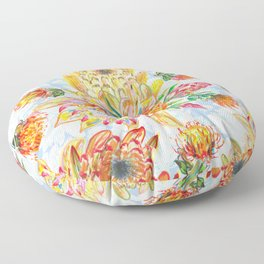 Orange and pink protea flowers floral on blue Floor Pillow