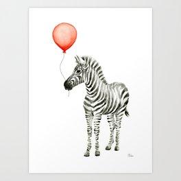 Baby Zebra with Red Balloon Art Print