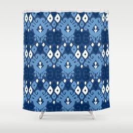 Ikat pattern indigo Shower Curtain