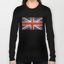 """UK British Union Jack flag """"Bright"""" retro Long Sleeve T-shirt"""