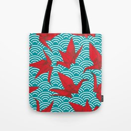 Origami red paper cranes sketch. burgundy maroon line Nature oriental Tote Bag