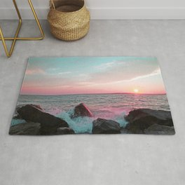 Pink and Blue Sunset Over Newport Rhode Island Rug