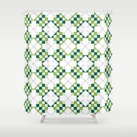 green pattern Shower Curtains featuring Pattern Green by Ochre Creative