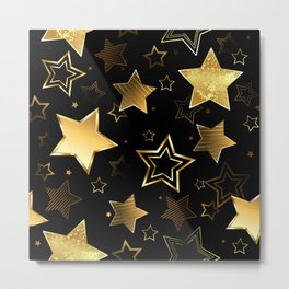 Seamless with Golden Stars Metal Print