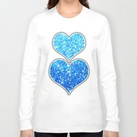 sparkles Long Sleeve T-shirts featuring Blue Glitters Sparkles Texture by Tees2go