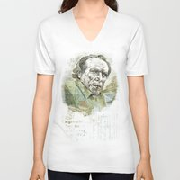 bukowski V-neck T-shirts featuring Charles Bukowski by Nina Palumbo Illustration