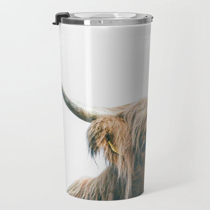 Majestic Highland cow portrait Travel Mug