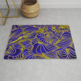 Curves in Yellow & Royal Blue Rug