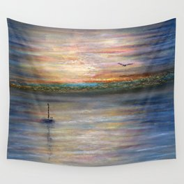 Boat and Bird in Oil Pastels Wall Tapestry