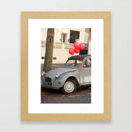 Red Balloons on Gray Vintage Car in Paris Framed Art Print