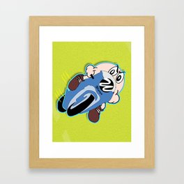 Motorcyclist Cartoon Character Framed Art Print
