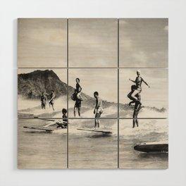Vintage Hawaii Tandem Surfing Wood Wall Art