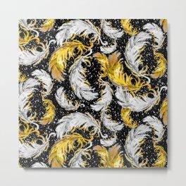 Feather Fest — Yellow • Black • White Metal Print