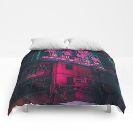 Neon Night in Tokyo Comforters