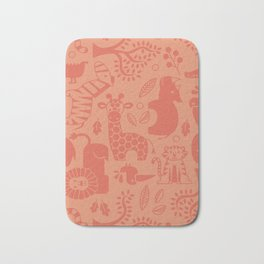 Zoo Animal Patten in Coral Bath Mat