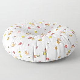 Bell Peppers and Guinea Pigs Pattern in White Background Floor Pillow