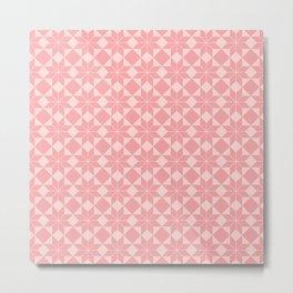 8 Point Star Pattern (Vintage Rose on Blush Pink) Metal Print