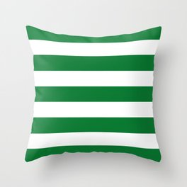 La Salle green - solid color - white stripes pattern Throw Pillow