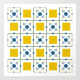 Talavera, blue and yellow flowers Art Print
