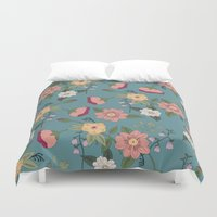 vintage floral Duvet Covers featuring Floral Vintage by Juliana Zimmermann