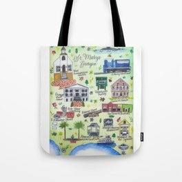 """""""Downtown St. Marys, GA"""" Watercolor Map Tote Bag"""