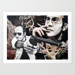 Hunter S. Thompson - Gonzo - Acrylic, Graphite, and Gel Medium on Hardboard and Paper Art Print