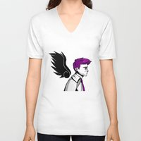 asexual V-neck T-shirts featuring Asexual Cas by Dreki