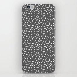 Dark gray and white Memphis pattern iPhone Skin