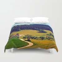 hiking Duvet Covers featuring Hiking through springtime scenery by Patrick Jobst