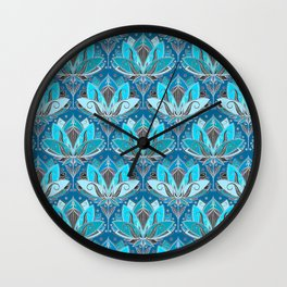 Art Deco Lotus Rising - black, teal & turquoise pattern Wall Clock