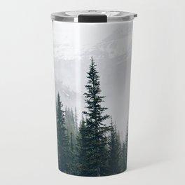 Evergreens in the fog Travel Mug