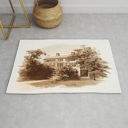 Vintage Sketched House in Sepia Rug