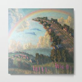 Lift Up Every Voice, magical realism lavender fields, houses, and rainbow landscape painting by I. Orlov Metal Print