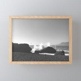 Crashing Waves Noir Framed Mini Art Print