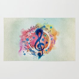 Fun Musical Notes and Treble Clef Paint Splatter Rug