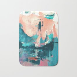 Sugar: a fun, minimal mixed-media abstract piece in pinks and blues Bath Mat
