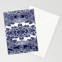 Blue Floral Damask Stationery Cards