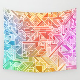 BRIGHT VIBRANT GRADIENT GEOMETRIC SHAPES RAINBOW PRINT TILED MOSAIC TIE DYE COLORFUL Wall Tapestry