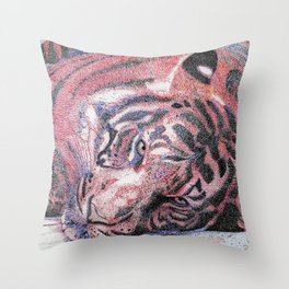 """""""Le Tigre Violet"""" :: The Purple Tiger Throw Pillow"""