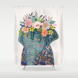 Elephant with flowers on head Shower Curtain