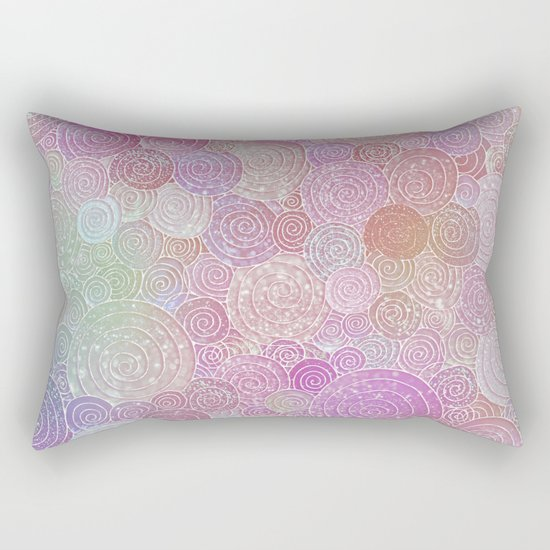 Abstract pink rosegold glamour glitter circles for ladies on #Society6 Rectangular Pillow