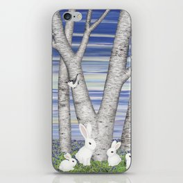 nuthatches, bunnies, and birches iPhone Skin