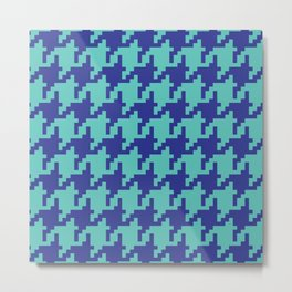 Houndstooth - Blue & Turquoise Metal Print