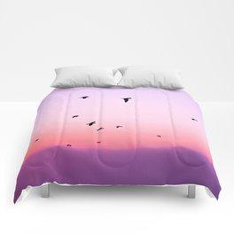birds in the sky rose Comforters