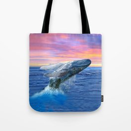 Breaching Humpback Whale at Sunset Tote Bag