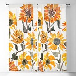 Sunflower Watercolor – Yellow & Black Palette Blackout Curtain